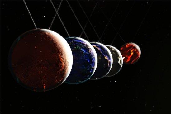 Newton's Cradle Planets